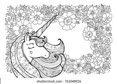 Unicorn Outline Images, Stock Photos & Vectors   Shutterstock