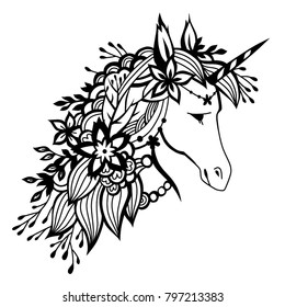 Unicorn with flowers in his hair. Monochrome illustration isolated on white background