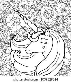 Unicorn, flowers. Magical animal. Vector artwork. Black and white. Coloring book pages for adults, kids. Funny character. Zentangle Illustration. Boho, bohemian. Fairytale concept, amazing wonderland