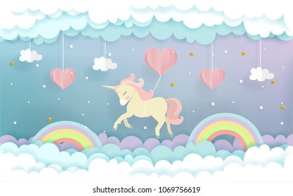 A unicorn flying with heart balloons in the sky, cute unicorn in paper cut style. Vector illustration