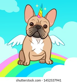 Unicorn french bulldog with horn and wings vector cartoon illustration. Cute bulldog puppy dog in the sky with rainbow and clouds. Humorous, magic, pets, mythical creatures, believe in yourself.