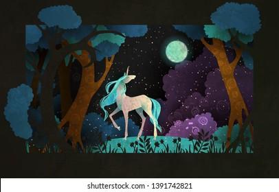 Einhorn vor Zauberwald, Nachthimmel und Mond. Märchengrafik
