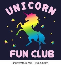 Unicorn fun club. Print for t-shirt with unicorn. Poster for textile, fabric, web, clothes, poster, massage.