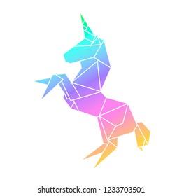 Unicorn in geometry low-polygonal style. Origami rainbow