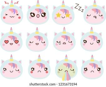 Unicorn girl emotions