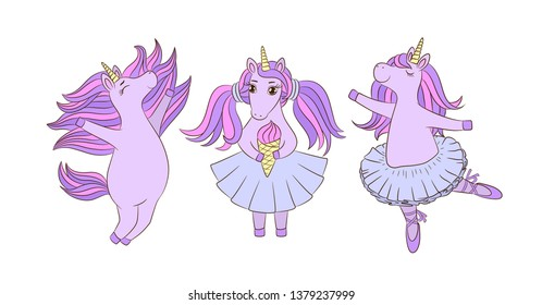 Unicorn girls ballerinas. Cute doodle style. Cartoon characters different poses. Eating ice cream. Hand drawn set. Magic collection. Girlish print. Funny little pony chubby animal. Isolated on white.