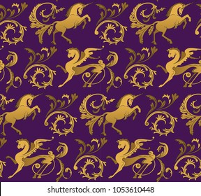 Unicorn and Griffin Seamless Vector Pattern