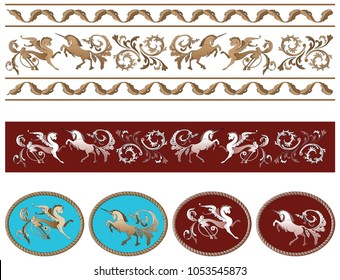 Unicorn and Griffin Vector Repeating Border Divider and Decorative Elements Set