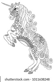 Unicorn. Hand drawn fantasy horse. Sketch for anti-stress adult coloring book in zen-tangle style. Vector illustration for coloring page.