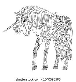Unicorn Hand Drawn Fantasy Horse Sketch For Anti Stress Adult Coloring Book In