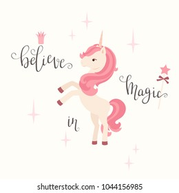 """Unicorn and hand lettering """"believe in magic"""". Vector illustration"""