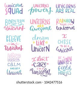 Unicorn hand written lettering inscription positive quote, calligraphy vector illustration. Text sign slogan design for quote poster, greeting card, print, cool badge