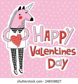 unicorn happy valentines day