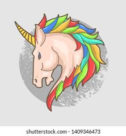 unicorn head colorful vector illustration