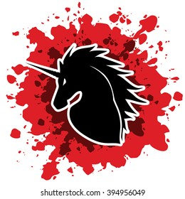 Unicorn Head designed on grunge blood background graphic vector.