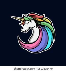 Unicorn head logo gaming esport
