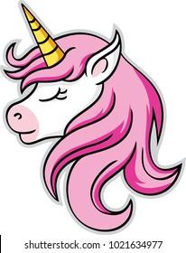 unicorn head mascot, vector illustration.