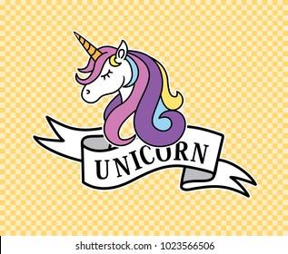 unicorn head mascot.Cute magic cartoon fantasy cute animal. Rainbow hair.