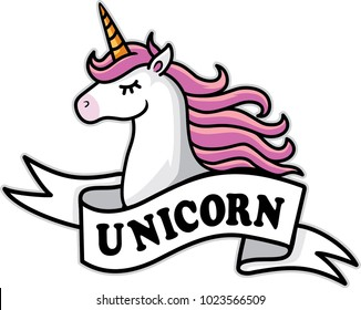 unicorn head mascot.Unicorn design with white ribbon
