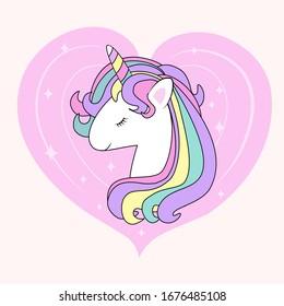 Unicorn head on pink heart background. Kids cute happy cartoon with for invitation card, baby clothes, nursery art, sticker, print, pop art. Kawai fantasy animal. Vector illustration
