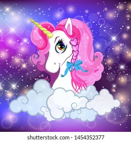 Unicorn head with pink mane portrait on rainbow mesh kawaii universe galaxy space or night sky holographic background, clouds, magic sparkles, stars, princess fairytale Cartoon vector illustration