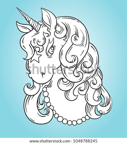 Unicorn Head Portrait Coloring Page Poster Stock Vector (Royalty ...
