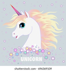 Unicorn head portrait vector illustration. Magic fantasy horse design for children t-shirt and bags. Childish character White unicorn  with gold hair