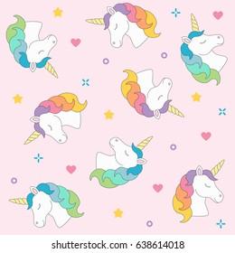 Unicorn head seamless pattern colorful on pink background