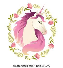Unicorn head in wreath of flowers. Watercolor illustration.