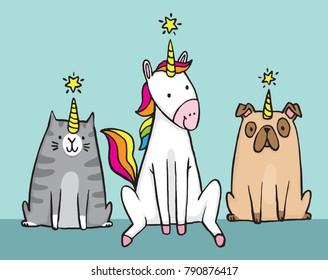 A unicorn and her pets. A cat (caticorn) and a pug (unipig). Cute cartoon vector file.
