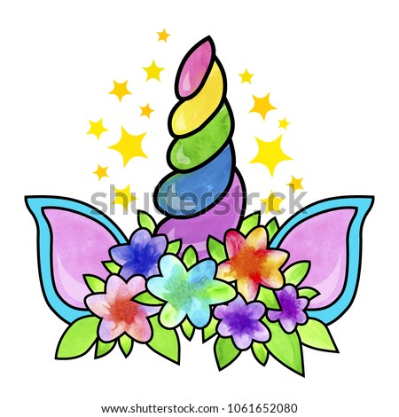 Unicorn horn and ears with flowers and stars. Vector illustration for cute  floral card and 03015383cf5