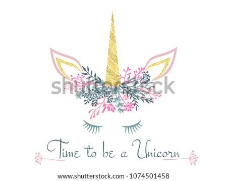 Unicorn Horn Flowers Twigs Wreath Tiara Stock Vector (Royalty Free ... 697746d4dfd
