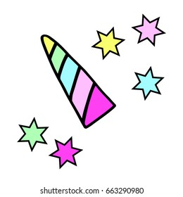 Unicorn horn in rainbow colors and colorful stars. Magic animal symbol illustration vector.