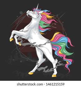 UNICORN HORSE FULL COLOUR MAJESTIC HAIR STANDING POSE ARTWORK VECTOR