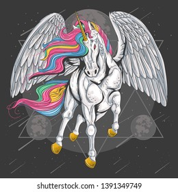 UNICORN HORSE FULL COLOUR WITH WINGS FLY ON THE SPACE MOON VECTOR FOR ELEMENT, FLYER AND T-SHIRT DESIGN ARTWORK