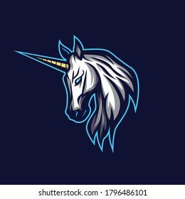 unicorn horse head mascot logo with blue background