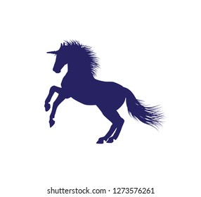 unicorn horse silhouette with detailed hair vector illustration design template in white background