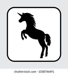 Unicorn icon, black silhouette. Vector illustration