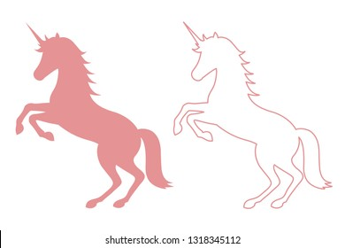 unicorn icon, flat and linear silhouette isolated on white background, vector illustration.