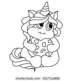 Unicorn icon isolated on white with cookie. Cute magic cartoon fantasy animal. Dream symbol. Design for children