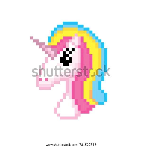 Image Vectorielle De Stock De Icône Licorne Pixel Art Le