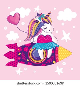 Unicorn illustration drawing in cartoon style. Girlish magic t shirt design.  Pony flies on rocker in pink sky with white clouds