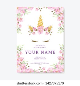 unicorn invitation card with floral wreath