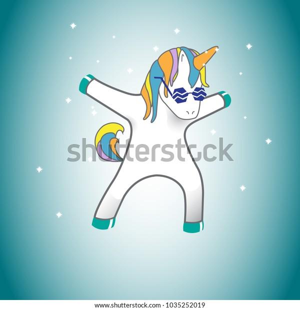 Unicorn Isolated On Background Web Siteposterplacard Stock