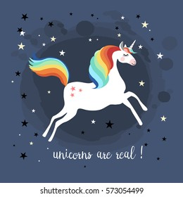 Unicorn jumping with stars in the background, vector illustration