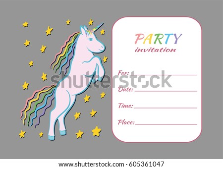Unicorn Kids Party Invitation Card Template Stock Vector Royalty