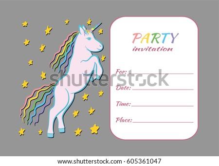 Unicorn kids party invitation card template stock vector royalty unicorn kids party invitation card template children party invite card design filmwisefo