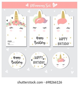 Unicorn labels for sales, gift, birthday, baby showers, in vector