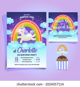 Unicorn, Little pony theme birthday invitation with Rainbow