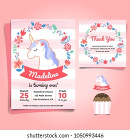 Unicorn, Little pony theme birthday invitation